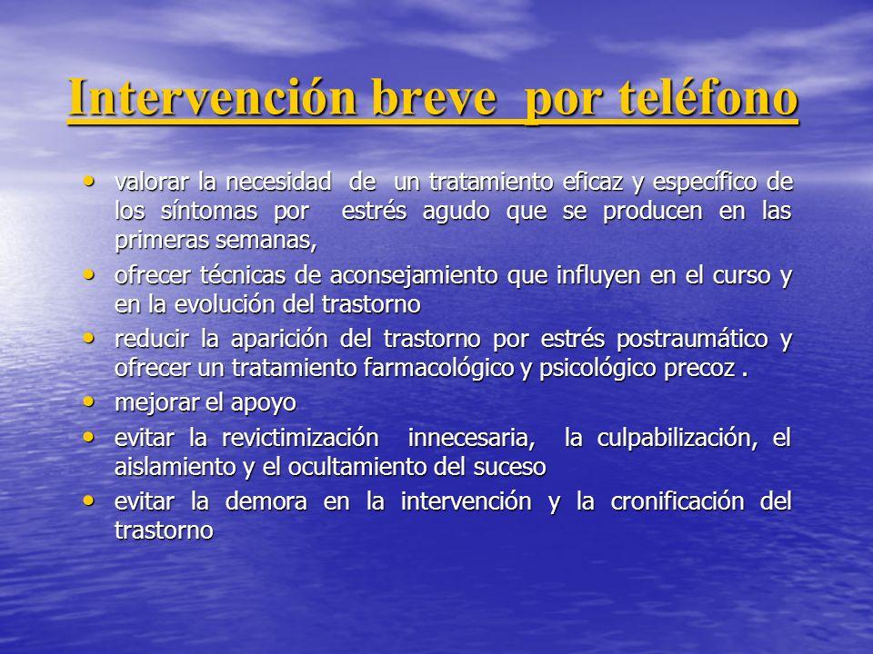 Intervención breve por teléfono Intervención breve por teléfono valorar la necesidad de un tratamiento eficaz y específico de los síntomas por estrés