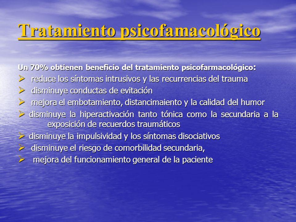Tratamiento psicofamacológico Un 70% obtienen beneficio del tratamiento psicofarmacológico : reduce los síntomas intrusivos y las recurrencias del tra