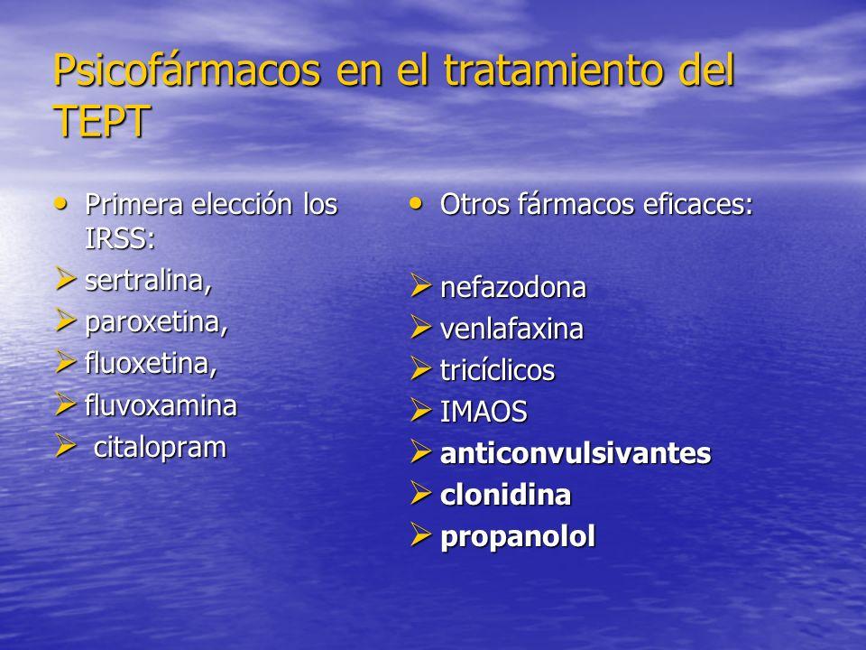 Psicofármacos en el tratamiento del TEPT Primera elección los IRSS: Primera elección los IRSS: sertralina, sertralina, paroxetina, paroxetina, fluoxetina, fluoxetina, fluvoxamina fluvoxamina citalopram citalopram Otros fármacos eficaces: Otros fármacos eficaces: nefazodona nefazodona venlafaxina venlafaxina tricíclicos tricíclicos IMAOS IMAOS anticonvulsivantes anticonvulsivantes clonidina clonidina propanolol propanolol