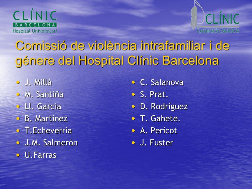 Comissió de violència intrafamiliar i de génere del Hospital Clínic Barcelona J. Millà J. Millà M. Santiña M. Santiña Ll. Garcia Ll. Garcia B. Martine