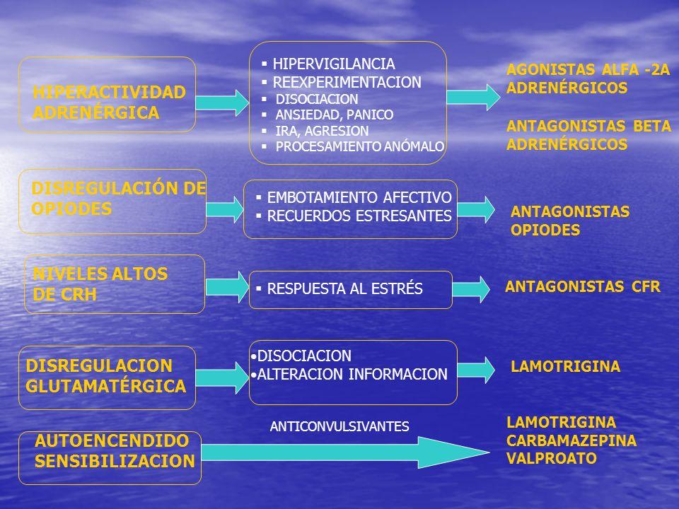 HIPERACTIVIDAD ADRENÉRGICA DISREGULACIÓN DE OPIODES NIVELES ALTOS DE CRH HIPERVIGILANCIA REEXPERIMENTACION DISOCIACION ANSIEDAD, PANICO IRA, AGRESION PROCESAMIENTO ANÓMALO EMBOTAMIENTO AFECTIVO RECUERDOS ESTRESANTES RESPUESTA AL ESTRÉS DISREGULACION GLUTAMATÉRGICA DISOCIACION ALTERACION INFORMACION AUTOENCENDIDO SENSIBILIZACION AGONISTAS ALFA -2A ADRENÉRGICOS ANTAGONISTAS BETA ADRENÉRGICOS ANTAGONISTAS OPIODES ANTAGONISTAS CFR LAMOTRIGINA CARBAMAZEPINA VALPROATO ANTICONVULSIVANTES