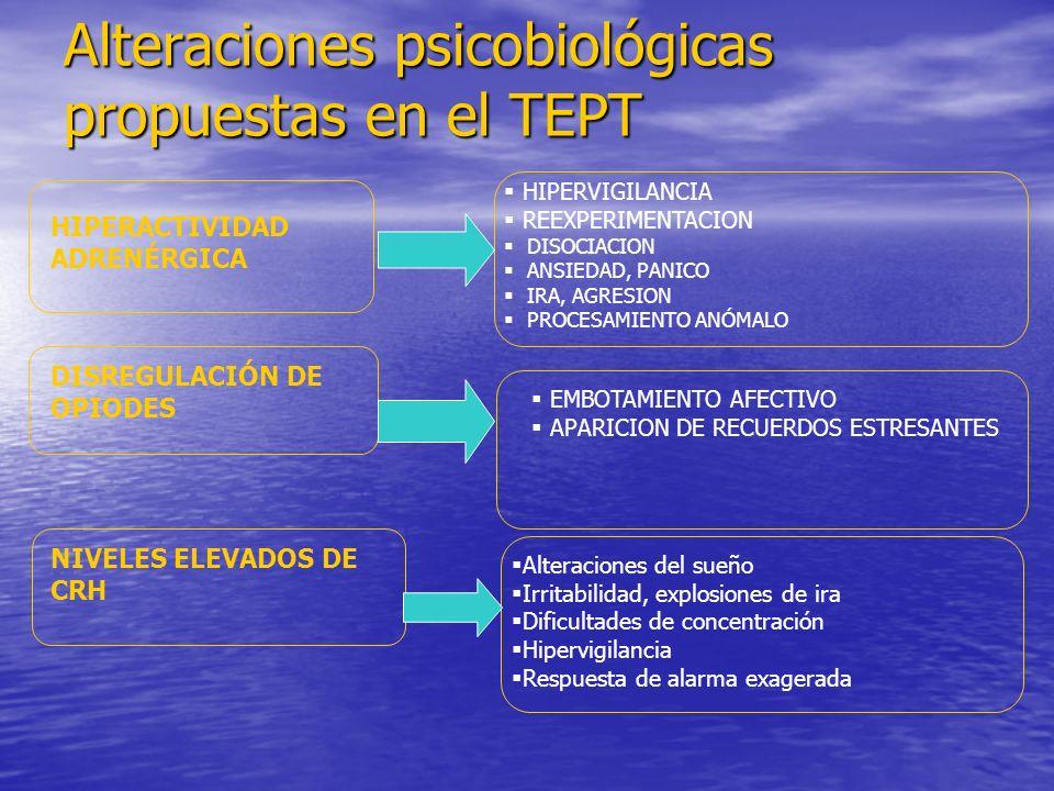 Alteraciones psicobiológicas propuestas en el TEPT HIPERACTIVIDAD ADRENÉRGICA DISREGULACIÓN DE OPIODES NIVELES ELEVADOS DE CRH HIPERVIGILANCIA REEXPERIMENTACION DISOCIACION ANSIEDAD, PANICO IRA, AGRESION PROCESAMIENTO ANÓMALO EMBOTAMIENTO AFECTIVO APARICION DE RECUERDOS ESTRESANTES Alteraciones del sueño Irritabilidad, explosiones de ira Dificultades de concentración Hipervigilancia Respuesta de alarma exagerada