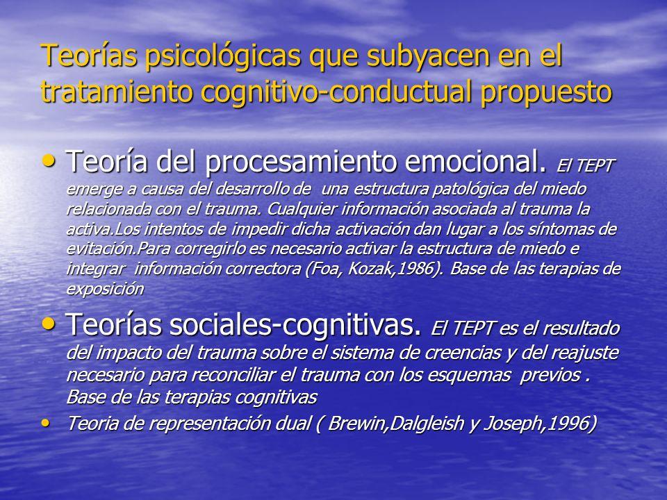 Teorías psicológicas que subyacen en el tratamiento cognitivo-conductual propuesto Teoría del procesamiento emocional. El TEPT emerge a causa del desa