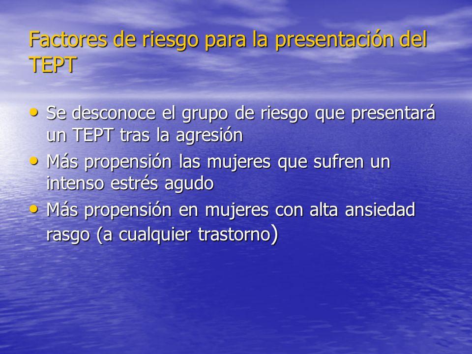 Factores de riesgo para la presentación del TEPT Se desconoce el grupo de riesgo que presentará un TEPT tras la agresión Se desconoce el grupo de ries