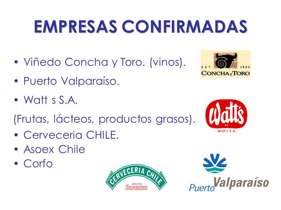 EMPRESAS CONFIRMADAS Viñedo Concha y Toro. (vinos). Puerto Valparaíso. Watt s S.A. (Frutas, lácteos, productos grasos). Cerveceria CHILE. Asoex Chile