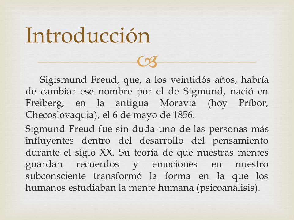 Sigismund Freud, que, a los veintidós años, habría de cambiar ese nombre por el de Sigmund, nació en Freiberg, en la antigua Moravia (hoy Príbor, Chec