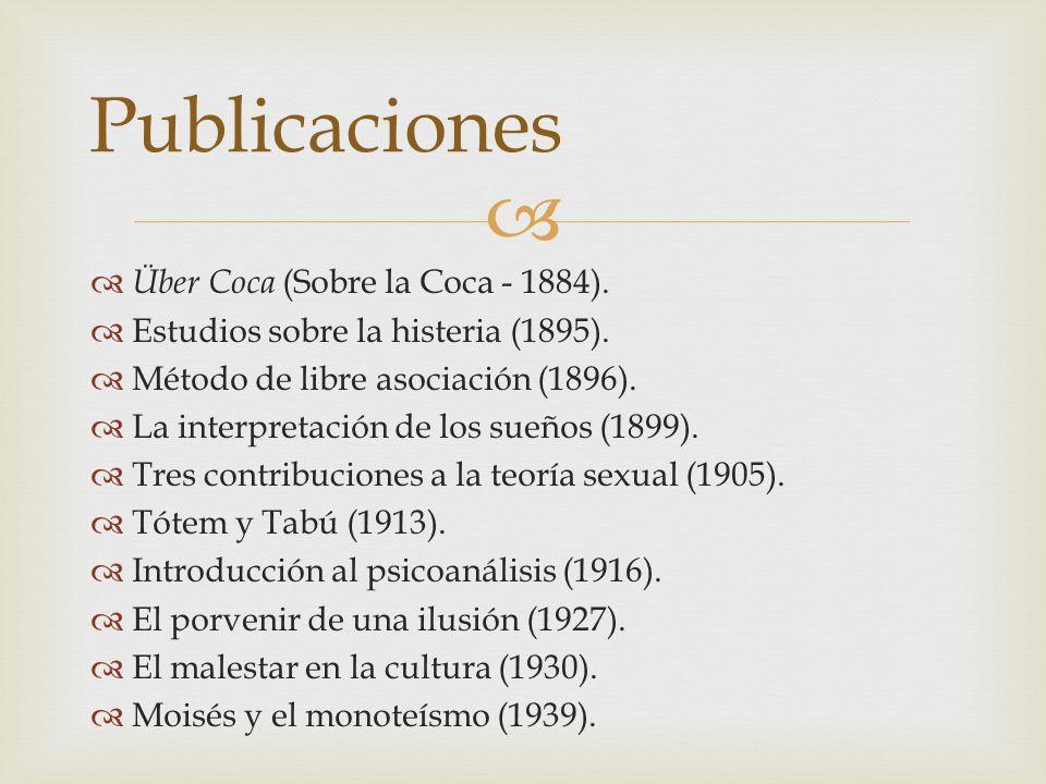 Über Coca (Sobre la Coca - 1884). Estudios sobre la histeria (1895). Método de libre asociación (1896). La interpretación de los sueños (1899). Tres c