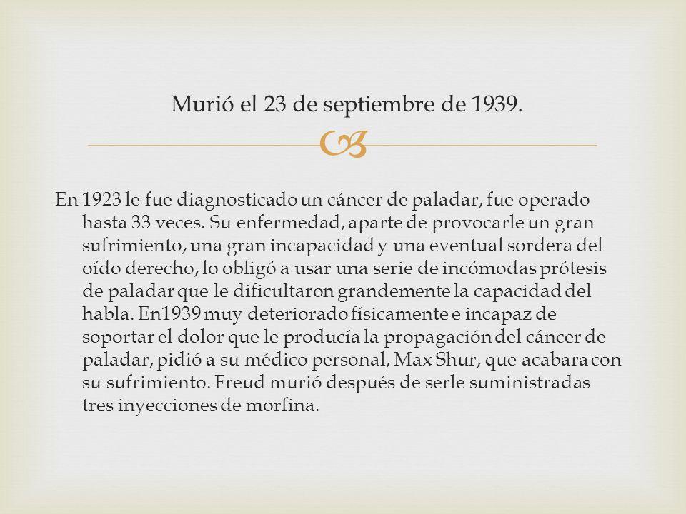 Murió el 23 de septiembre de 1939. En 1923 le fue diagnosticado un cáncer de paladar, fue operado hasta 33 veces. Su enfermedad, aparte de provocarle