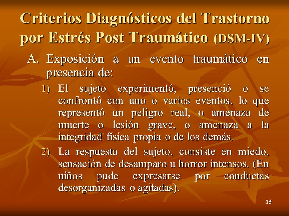 15 Criterios Diagnósticos del Trastorno por Estrés Post Traumático (DSM-IV) A.Exposición a un evento traumático en presencia de: 1) El sujeto experime