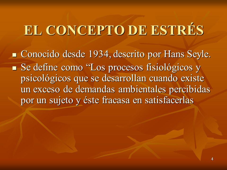 4 EL CONCEPTO DE ESTRÉS Conocido desde 1934, descrito por Hans Seyle. Conocido desde 1934, descrito por Hans Seyle. Se define como Los procesos fisiol