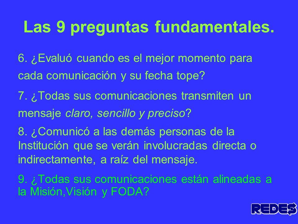 Las 9 preguntas fundamentales. 1. ¿ Tiene claro el motivo por el cuál va a comunicar? 2. ¿Quién va a comunicar? 3. ¿Definió cuáles son los diferentes