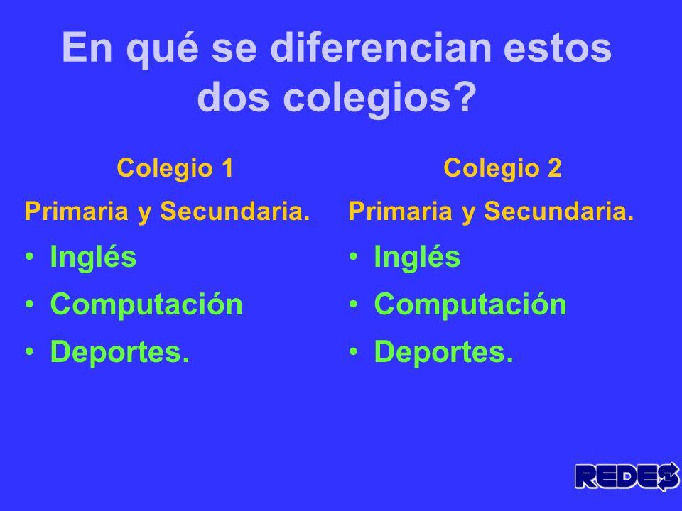 En qué se diferencian estos dos colegios.Colegio 1 Primaria y Secundaria.