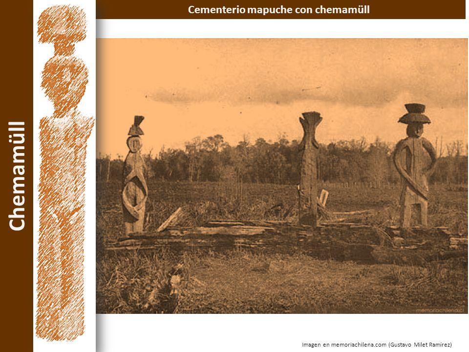 Cementerio mapuche con chemamüll Chemamüll Imagen en memoriachilena.com (Gustavo Milet Ramírez)