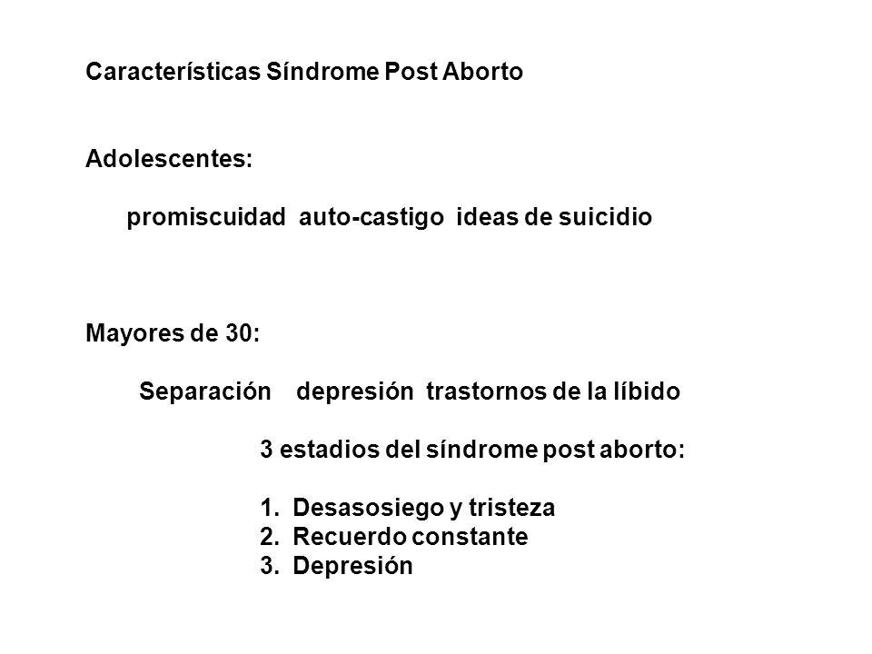 Características Síndrome Post Aborto Adolescentes: promiscuidad auto-castigo ideas de suicidio Mayores de 30: Separación depresión trastornos de la líbido 3 estadios del síndrome post aborto: 1.Desasosiego y tristeza 2.Recuerdo constante 3.Depresión