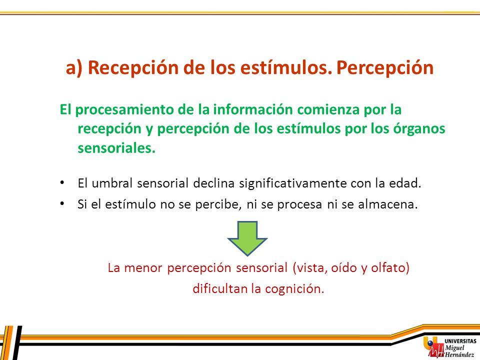 a) Recepción de los estímulos. Percepción El procesamiento de la información comienza por la recepción y percepción de los estímulos por los órganos s