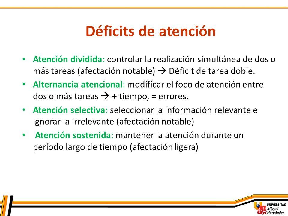Déficits de atención Atención dividida: controlar la realización simultánea de dos o más tareas (afectación notable) Déficit de tarea doble. Alternanc