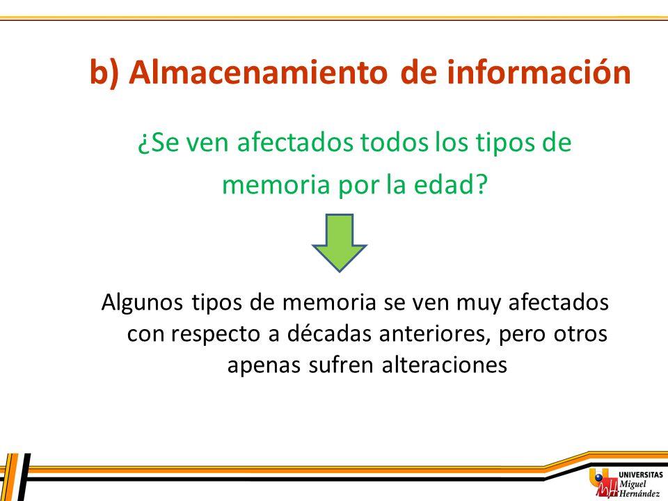 b) Almacenamiento de información ¿Se ven afectados todos los tipos de memoria por la edad? Algunos tipos de memoria se ven muy afectados con respecto