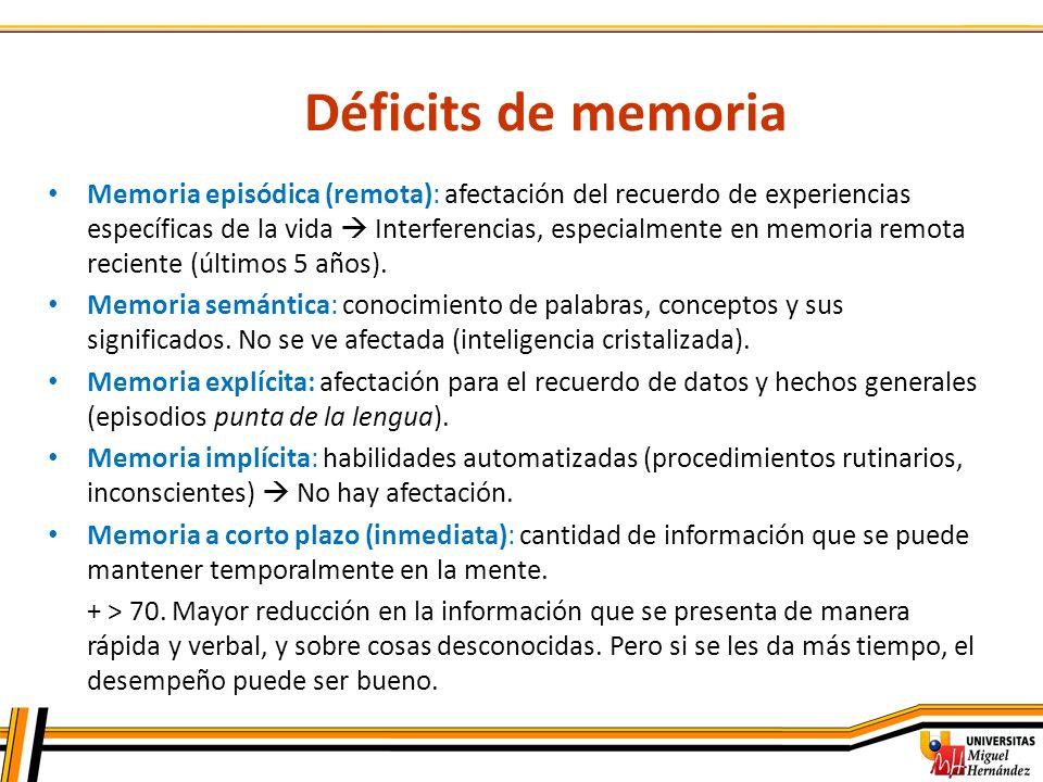 Déficits de memoria Memoria episódica (remota): afectación del recuerdo de experiencias específicas de la vida Interferencias, especialmente en memori