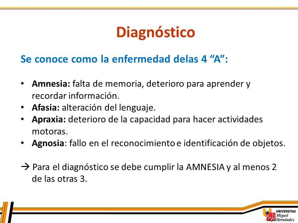 Diagnóstico Se conoce como la enfermedad delas 4 A: Amnesia: falta de memoria, deterioro para aprender y recordar información. Afasia: alteración del