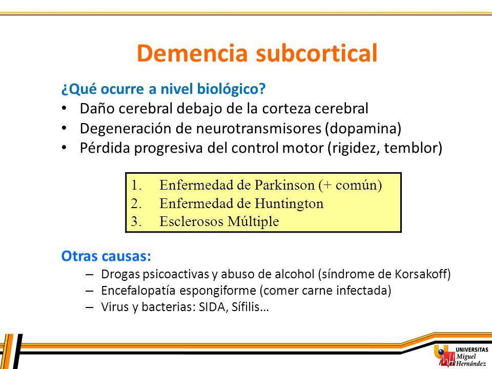 Demencia subcortical ¿Qué ocurre a nivel biológico? Daño cerebral debajo de la corteza cerebral Degeneración de neurotransmisores (dopamina) Pérdida p
