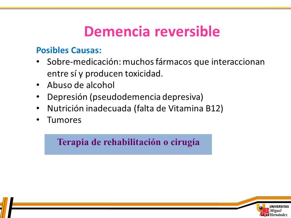 Demencia reversible Posibles Causas: Sobre-medicación: muchos fármacos que interaccionan entre sí y producen toxicidad. Abuso de alcohol Depresión (ps