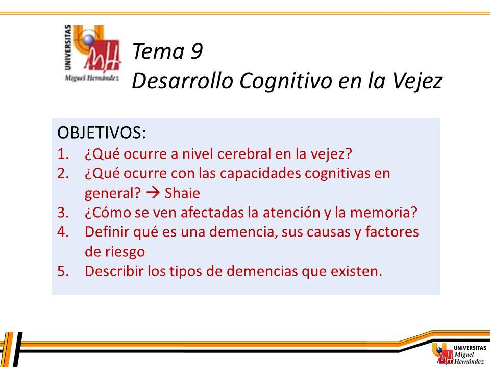 Tema 9 Desarrollo Cognitivo en la Vejez OBJETIVOS: 1.¿Qué ocurre a nivel cerebral en la vejez? 2.¿Qué ocurre con las capacidades cognitivas en general