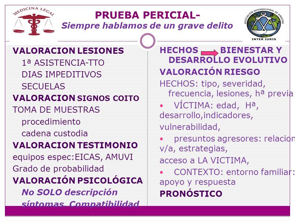 PRUEBA PERICIAL- Siempre hablamos de un grave delito VALORACION LESIONES 1ª ASISTENCIA-TTO DIAS IMPEDITIVOS SECUELAS VALORACION SIGNOS COITO TOMA DE M