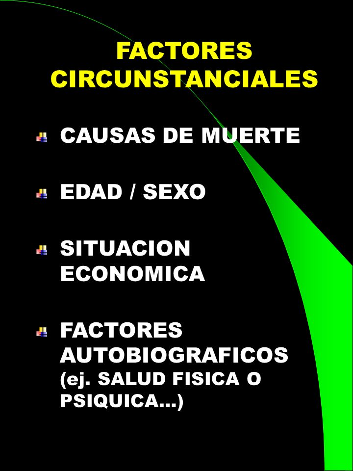 CAUSAS DE MUERTE EDAD / SEXO SITUACION ECONOMICA FACTORES AUTOBIOGRAFICOS (ej. SALUD FISICA O PSIQUICA…) FACTORES CIRCUNSTANCIALES