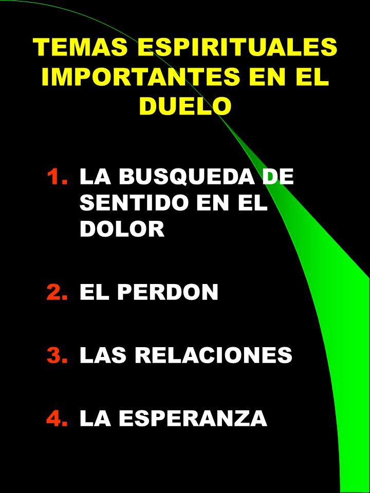 TEMAS ESPIRITUALES IMPORTANTES EN EL DUELO 1.LA BUSQUEDA DE SENTIDO EN EL DOLOR 2.EL PERDON 3.LAS RELACIONES 4.LA ESPERANZA