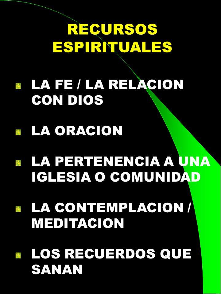 RECURSOS ESPIRITUALES LA FE / LA RELACION CON DIOS LA ORACION LA PERTENENCIA A UNA IGLESIA O COMUNIDAD LA CONTEMPLACION / MEDITACION LOS RECUERDOS QUE