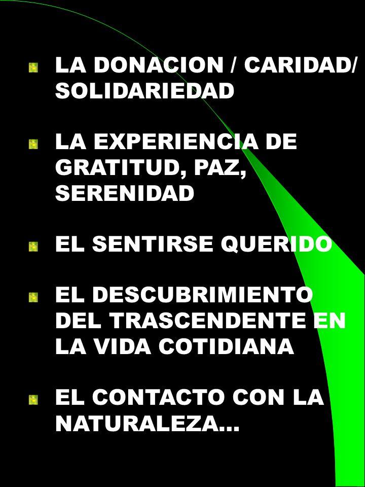LA DONACION / CARIDAD/ SOLIDARIEDAD LA EXPERIENCIA DE GRATITUD, PAZ, SERENIDAD EL SENTIRSE QUERIDO EL DESCUBRIMIENTO DEL TRASCENDENTE EN LA VIDA COTID
