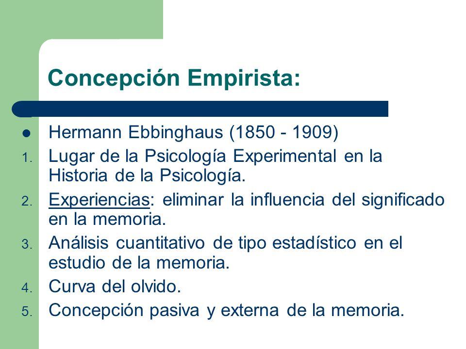Concepción Empirista: Hermann Ebbinghaus (1850 - 1909) 1. Lugar de la Psicología Experimental en la Historia de la Psicología. 2. Experiencias: elimin