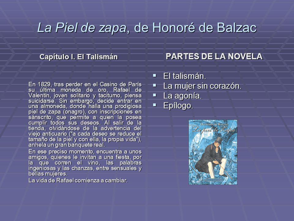 La Piel de zapa, de Honoré de Balzac Capítulo I. El Talismán Capítulo I. El Talismán En 1829, tras perder en el Casino de París su última moneda de or
