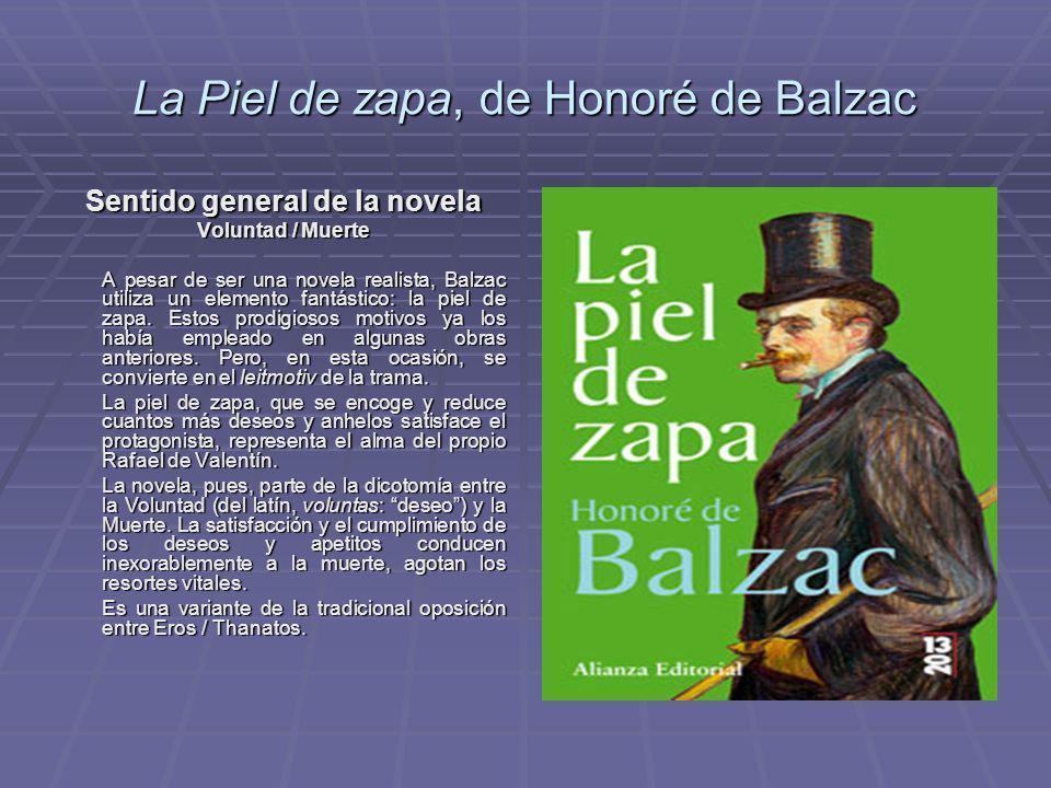 La Piel de zapa, de Honoré de Balzac Sentido general de la novela Voluntad / Muerte A pesar de ser una novela realista, Balzac utiliza un elemento fan