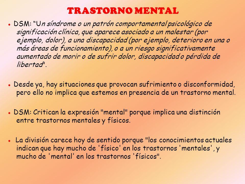 TRASTORNO MENTAL DSM: Un síndrome o un patrón comportamental psicológico de significación clínica, que aparece asociado a un malestar (por ejemplo, do