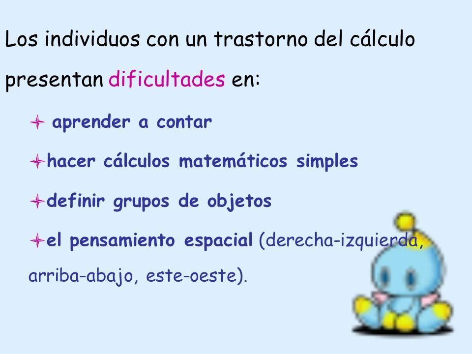 Los individuos con un trastorno del cálculo presentan dificultades en: aprender a contar hacer cálculos matemáticos simples definir grupos de objetos