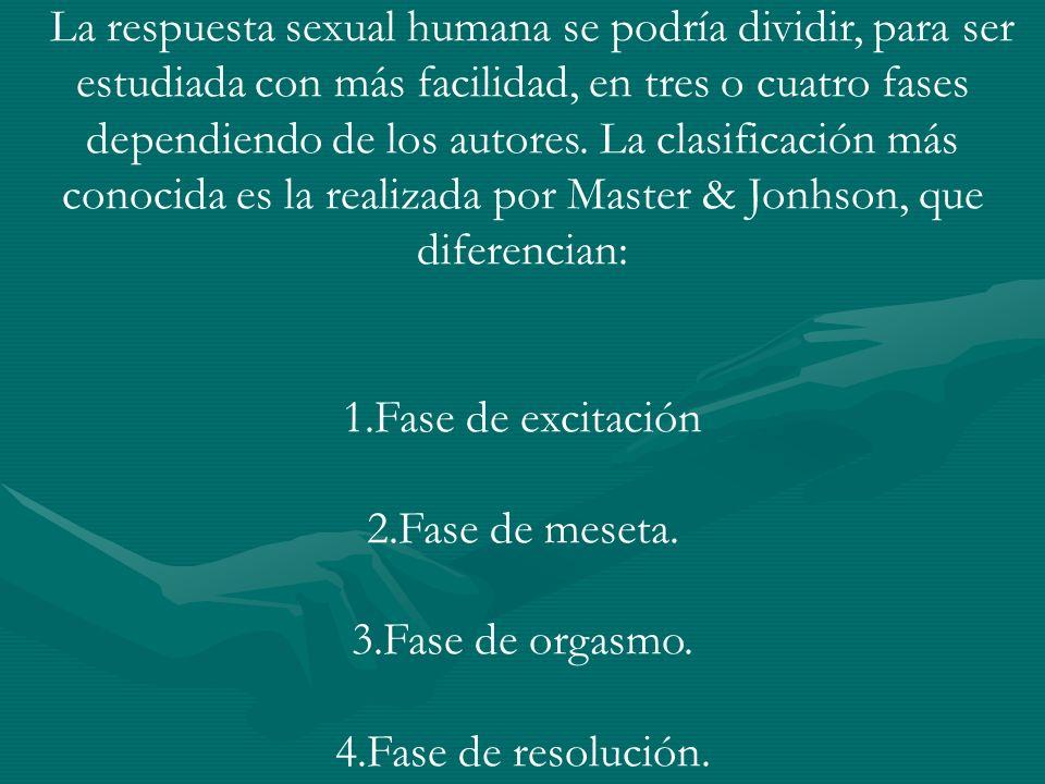 La respuesta sexual humana se podría dividir, para ser estudiada con más facilidad, en tres o cuatro fases dependiendo de los autores.