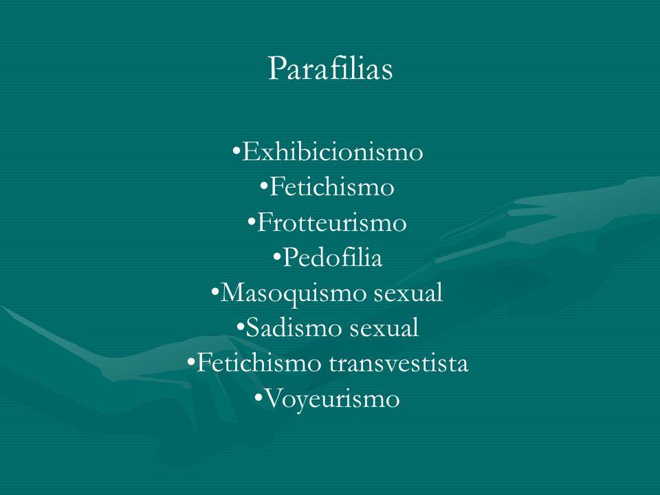 Parafilias Exhibicionismo Fetichismo Frotteurismo Pedofilia Masoquismo sexual Sadismo sexual Fetichismo transvestista Voyeurismo