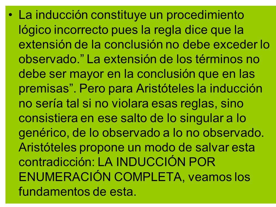 La inducción constituye un procedimiento lógico incorrecto pues la regla dice que la extensión de la conclusión no debe exceder lo observado. La exten