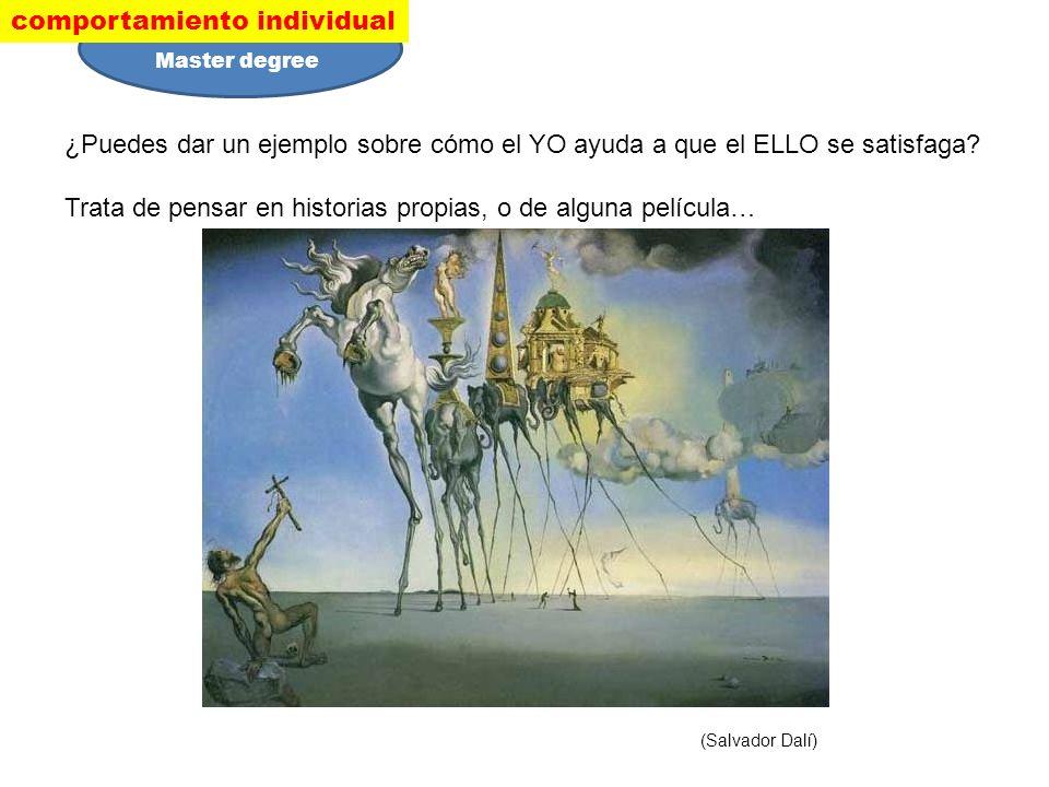 ¿Puedes dar un ejemplo sobre cómo el YO ayuda a que el ELLO se satisfaga? Trata de pensar en historias propias, o de alguna película… (Salvador Dalí)