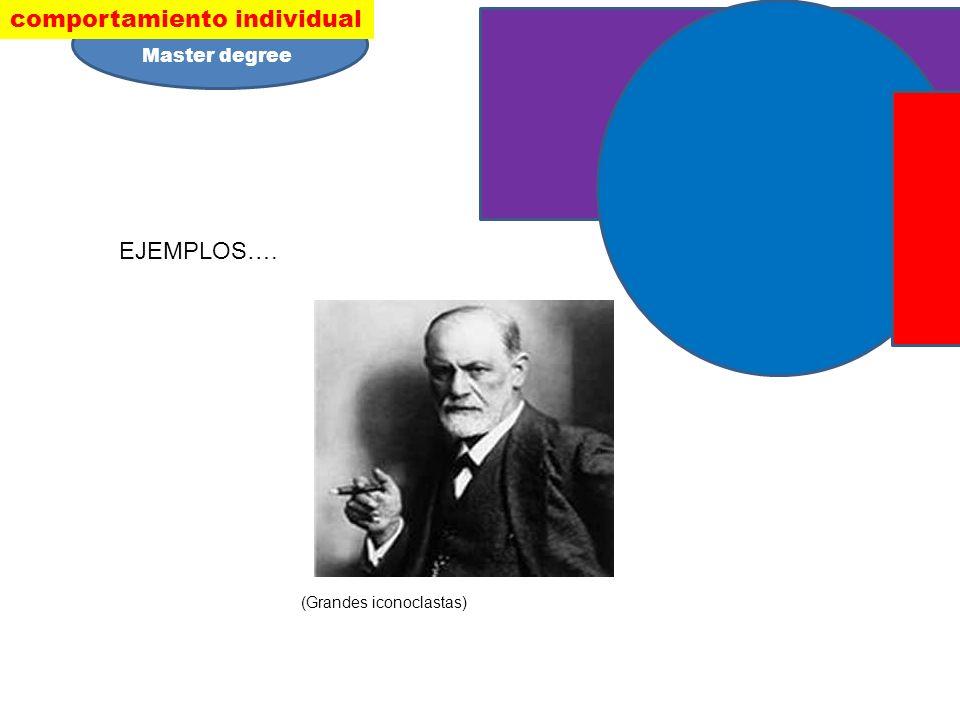 EJEMPLOS…. (Grandes iconoclastas) comportamiento individual Master degree