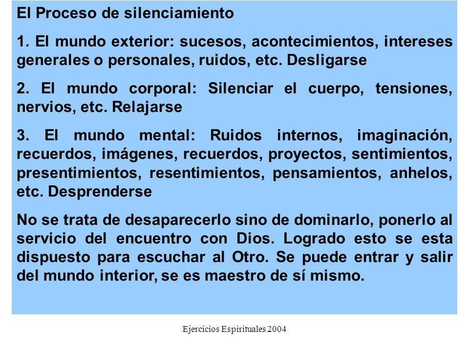 Ejercicios Espirituales 2004 El Proceso de silenciamiento 1. El mundo exterior: sucesos, acontecimientos, intereses generales o personales, ruidos, et