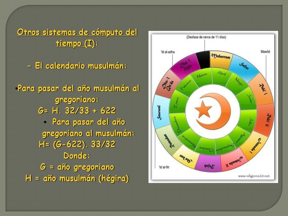 Otros sistemas de cómputo del tiempo (I): - El calendario musulmán: Para pasar del año musulmán al gregoriano: Para pasar del año musulmán al gregoria