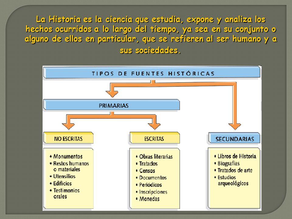 La Historia es la ciencia que estudia, expone y analiza los hechos ocurridos a lo largo del tiempo, ya sea en su conjunto o alguno de ellos en particu