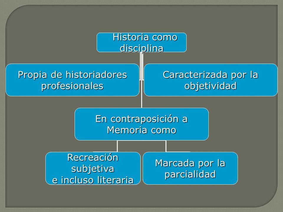 Historia como disciplina Historia como disciplina Propia de historiadores profesionales Caracterizada por la objetividad En contraposición a Memoria c