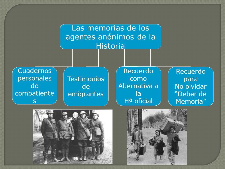 Las memorias de los agentes anónimos de la Historia Cuadernos personales de combatiente s Testimonios de emigrantes Recuerdo como Alternativa a la Hª