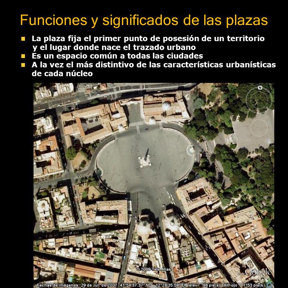 Funciones y significados de las plazas La plaza fija el primer punto de posesión de un territorio y el lugar donde nace el trazado urbano Es un espaci
