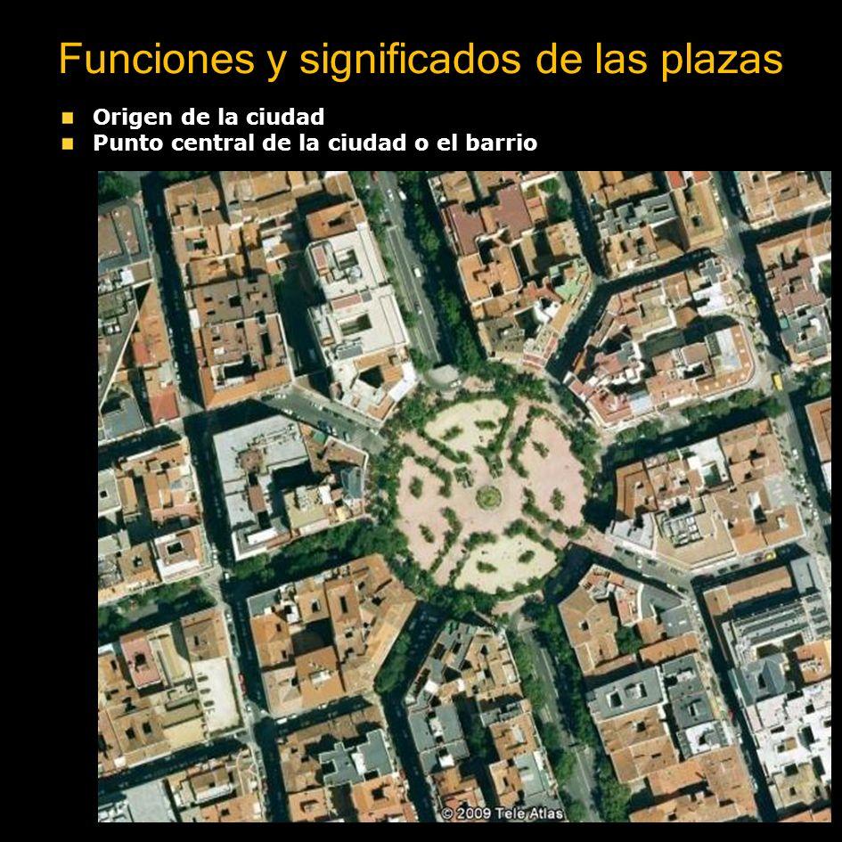 Funciones y significados de las plazas Lugar donde convergen las calles principales Ordena la retícula de calles Muestra sintéticamente la morfología, funciones y jerarquía de una ciudad