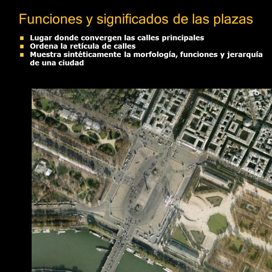 Funciones y significados de las plazas Lugar donde convergen las calles principales Ordena la retícula de calles Muestra sintéticamente la morfología,