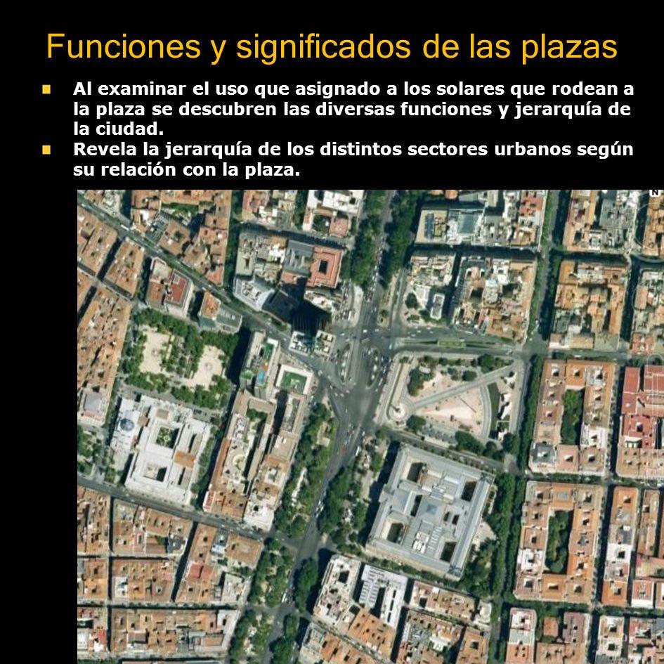 Funciones y significados de las plazas Las plazas son los espacios más activos y expresivos de las funciones que tienen las ciudades Las sedes del gobierno (símbolos del orden civil) se articulan con la catedral o templo (símbolo religioso).